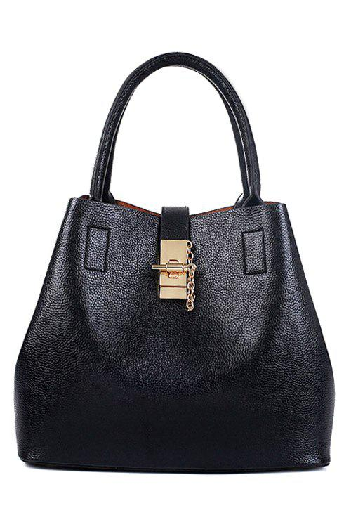 Stylish Metallic and Solid Color Design Tote Bag For Women - BLACK