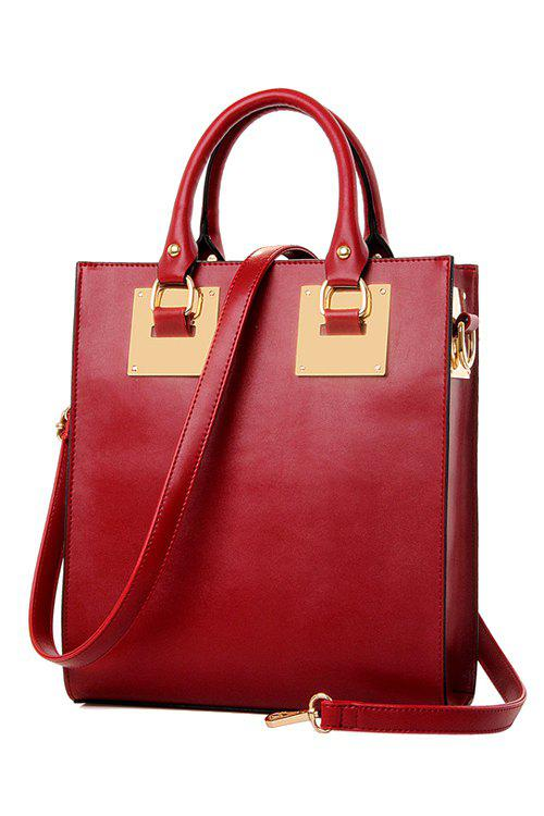 Laconic Metallic and Solid Color Design Tote Bag For Women - WINE RED