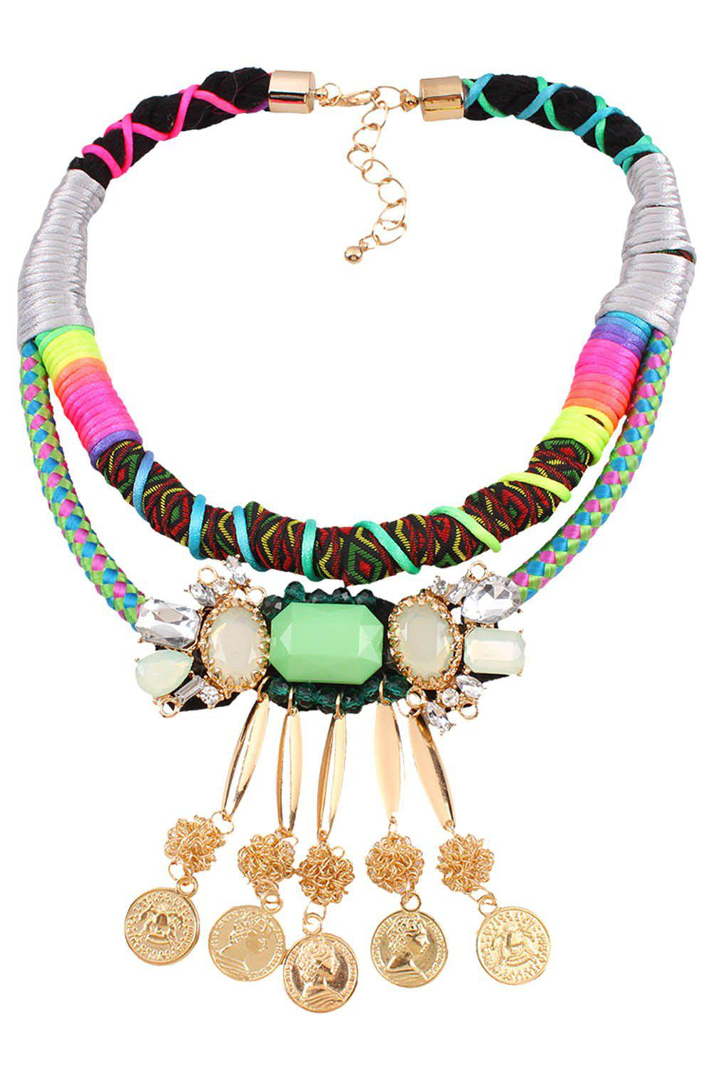 Ethnic Bohemia Multilayered Coin Fringed Necklace - COLORMIX