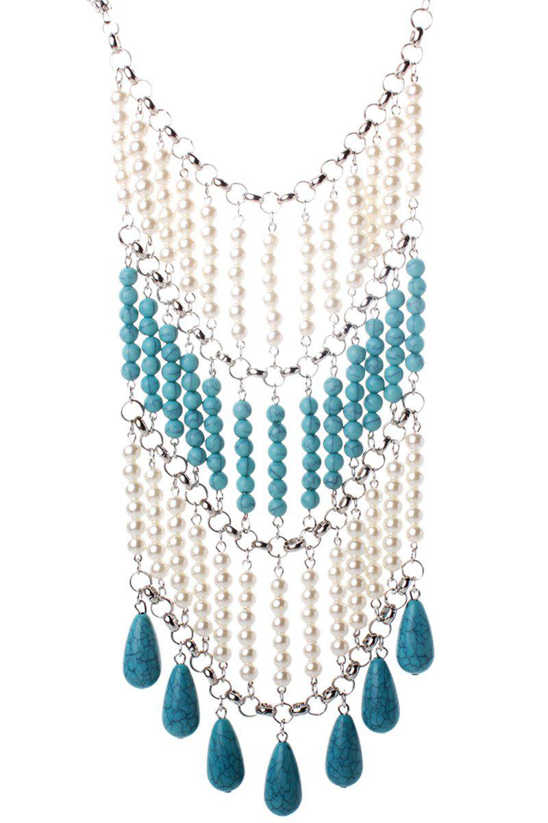 Bohemia Faux Pearl Turquoise Tassel Necklace -  BLUE