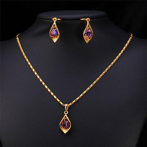 A Suit of Faux Amethyst Necklace and Earrings - GOLDEN