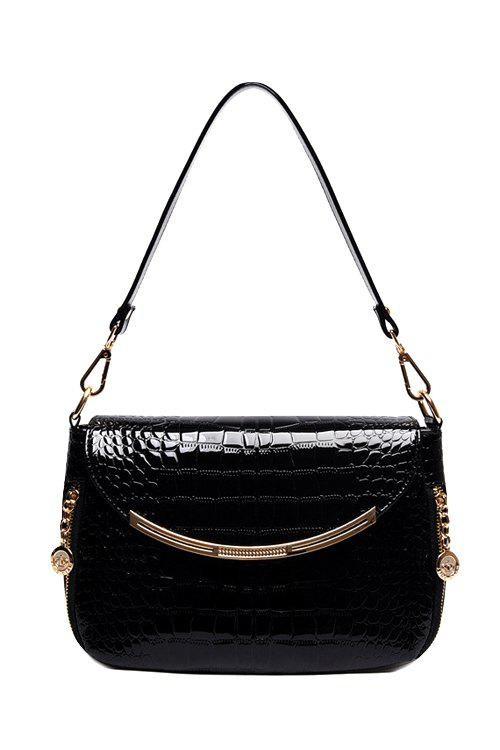 Trendy Metallic and Crocodile Print Design Shoulder Bag For Women - BLACK