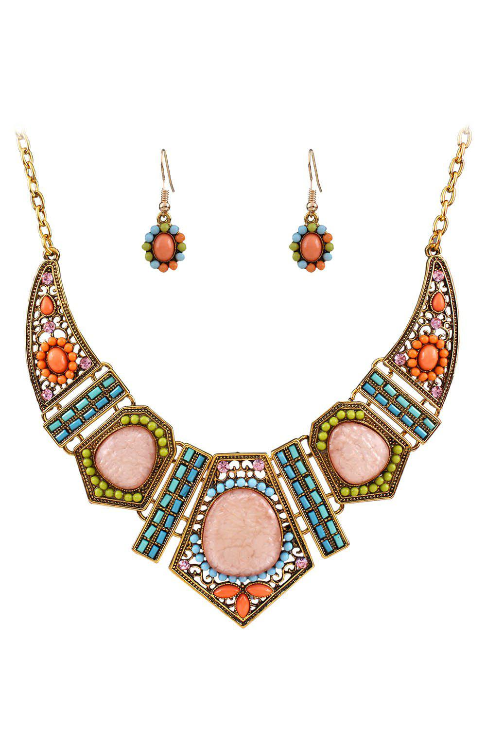 A Suit of Vintage Geometric Resin Necklace and Earrings - GOLDEN