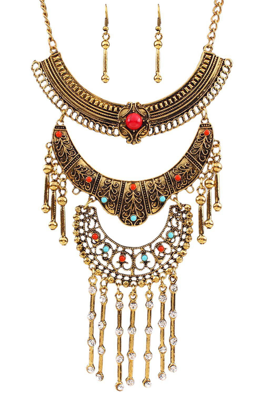 A Suit of Vintage Rhinestone Fringed Necklace and Earrings - GOLDEN