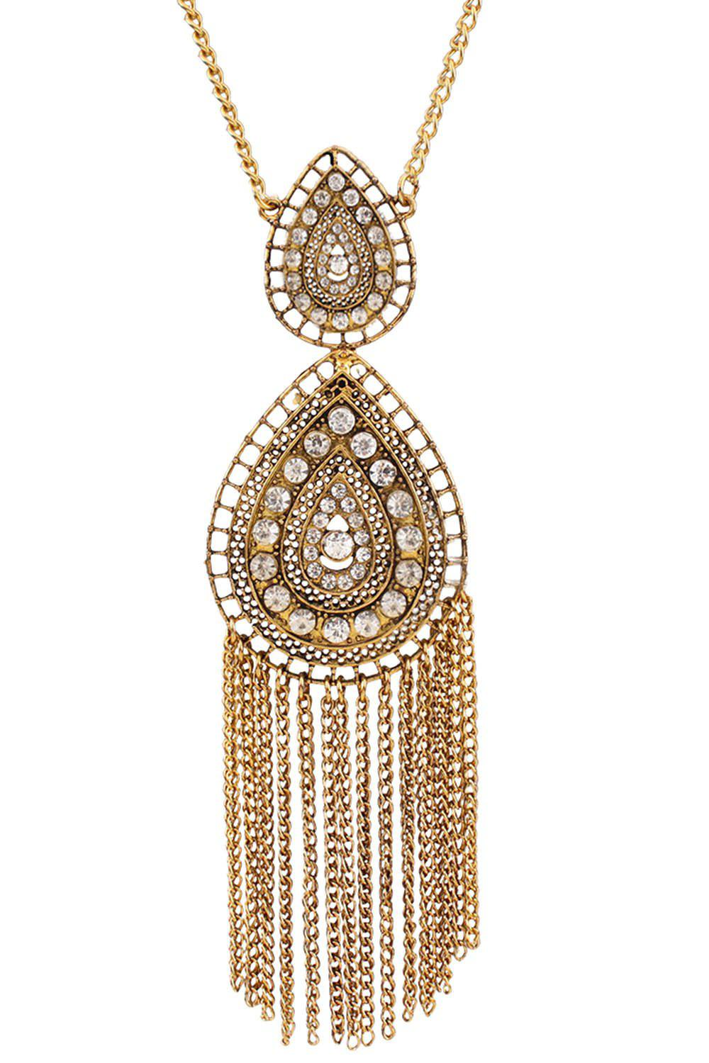 Vintage Rhinestone Water Drop Fringed Necklace - GOLDEN