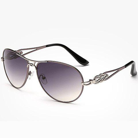 Chic Hollow Out and Full Frame Design Women's Sunglasses - GUN METAL