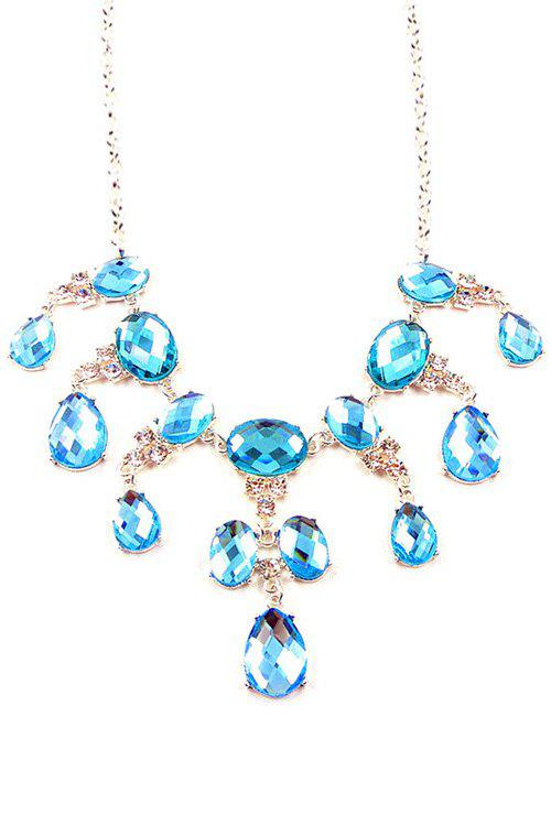 Trendy Faux Sapphire Decorated Necklace For Women - WATER BLUE
