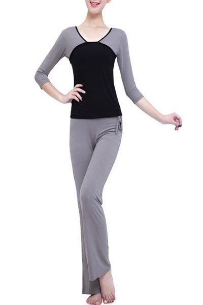 Casual Color Block 3/4 Sleeve V-Neck Women's Yoga Suit