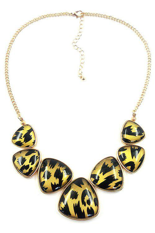 Trendy Triangle Leopard Print Necklace For Women - GOLDEN
