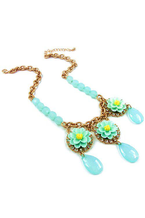 Gorgeous Floral Water Drop Necklace For Women - LIGHT BLUE