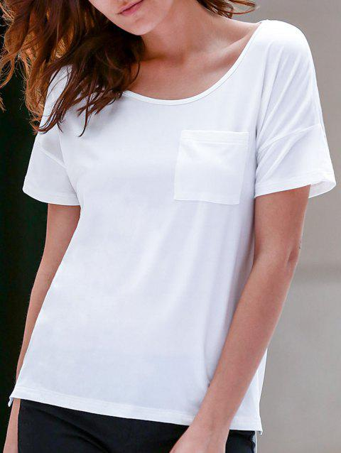 Stylish Scoop Neck Short Sleeve Slit Asymmetrical Women's T-Shirt - WHITE XL