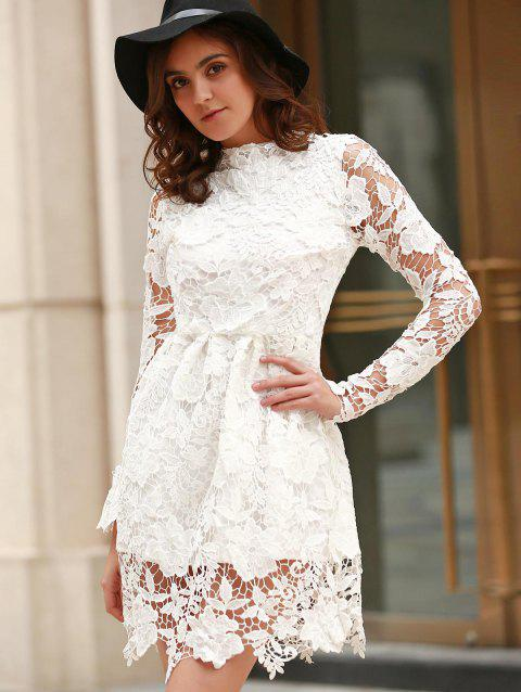 bc1a2d6f77f Elegant Women s Round Neck Long Sleeve Bowknot Embellished Lace Dress -  WHITE XL