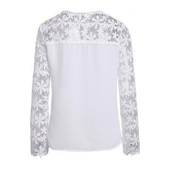 Stylish Scoop Neck Long Sleeve Crochet Flower Spliced Women's Blouse - WHITE 2XL