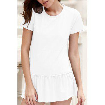 Buy Stylish Round Neck Short Sleeve Solid Color Pleated Women's T-Shirt WHITE