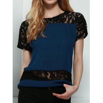 Stylish Round Neck Short Sleeve Hollow Out Lace Spliced Women's Blouse