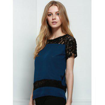 Stylish Round Neck Short Sleeve Hollow Out Lace Spliced Women's Blouse - PURPLISH BLUE S