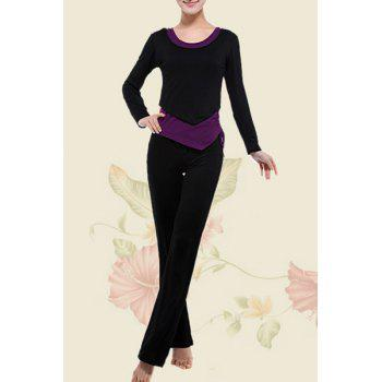 Stylish Long Sleeve Color Block Women's Three Piece Yoga Suit