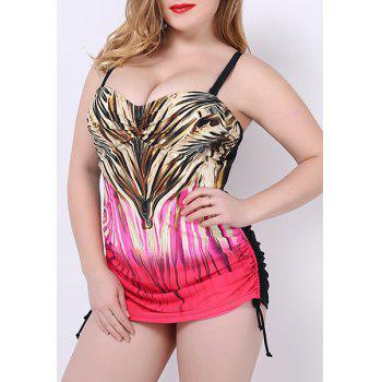 Trendy Colorful Print Push Up Plus Size One Piece Swimwear For Women