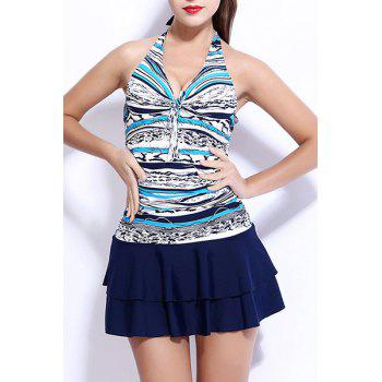 Halter Printed Layered Skirted One-Piece Swimwear