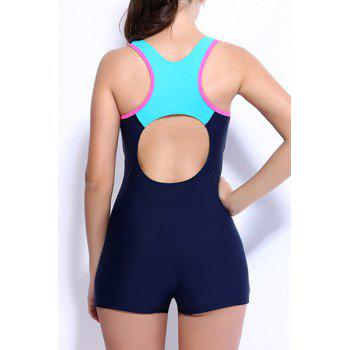 Stylish Backless Hit Color One-Piece Boxer Swimsuit For Women - PURPLISH BLUE S