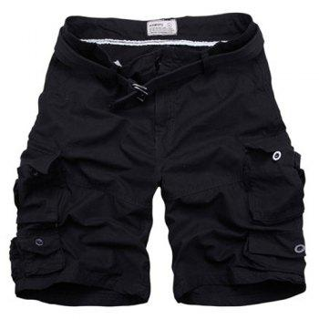 Zipper Fly Pockets Design Straight Leg Men's Shorts