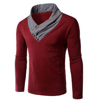 Slimming Special Collar Long Sleeves Splicing T-Shirt For Men
