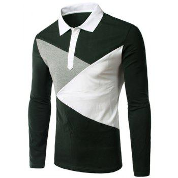 Slimming Button Design Long Sleeves Polo T-Shirt