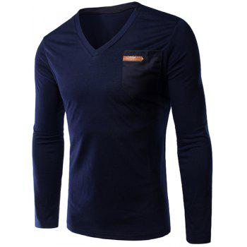 Slimming Single Pocket V-Neck Long Sleeves T-Shirt For Men