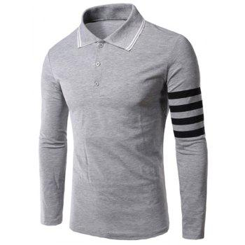 Slimming Long Sleeves Stripe Polo T-Shirt For Men