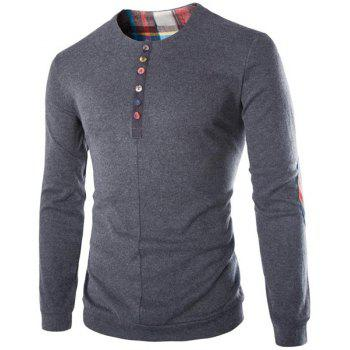 Round Neck Buttons Embellished Checked Elbow Patch Long Sleeve Men's Sweatshirt