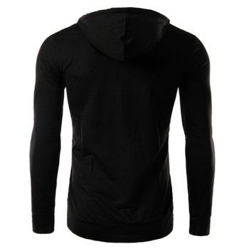 Slim Fit Splicing Pullover Double Breasted Hoodie For Men - BLACK 2XL