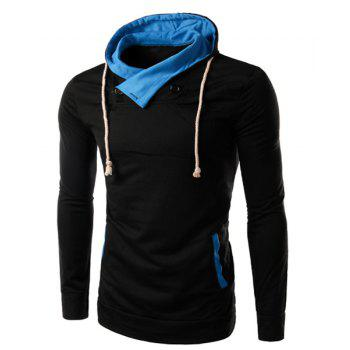 Slim Fit Splicing Pullover Double Breasted Hoodie For Men