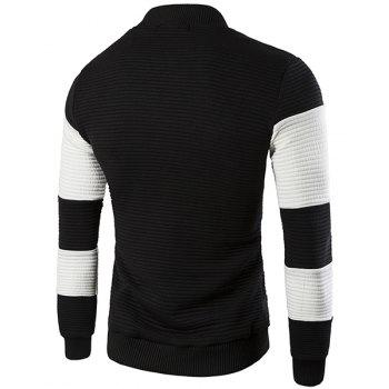 Stand Collar Long Sleeve Color Block Rib Spliced Jacket - BLACK L