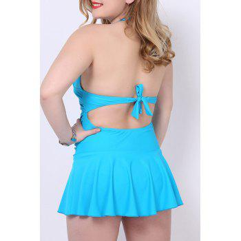 Sexy Halter Solid Color One-Piece Skirted Swimwear For Women - AZURE 2XL