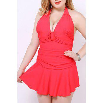 Sexy Halter Solid Color One-Piece Skirted Swimwear For Women
