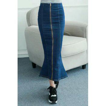 Zipper Design High Waisted Fishtail Denim Maxi Skirt