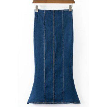 Zipper Design High Waisted Fishtail Denim Maxi Skirt - DEEP BLUE S