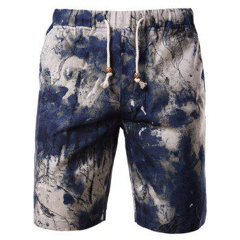 Tie-dye Color Block Cotton+Linen Straight Leg Lace-Up Men's Shorts