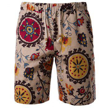 Vogue Straight Leg Floral Print Lace-Up Men's Cotton+Linen Shorts