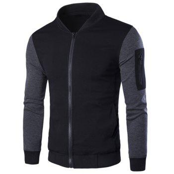 Stand Collar Rib Spliced PU-Leather Long Sleeve Men's Jacket