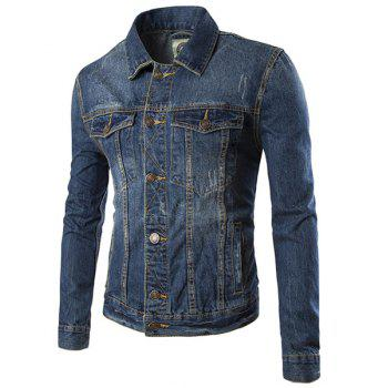 Turn-Down Collar Bleach Wash Pockets Long Sleeve Men's Denim Jacket