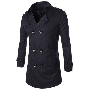Turn-Down Collar Epaulet Design Double-Breasted Long Sleeve Men's Trench Coat