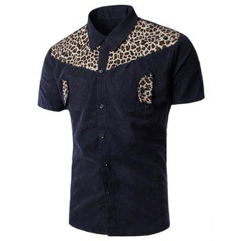 Casual Turn Down Collar Leopard Print Short Sleeves Shirt For Men