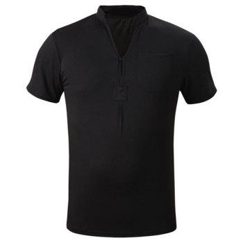 Simple Stand Collar Solid Color Patch Pocket Short Sleeve Men's T-Shirt