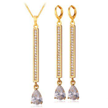 A Suit of Vintage Rhinestone Bar Water Drop Necklace and Earrings For Women