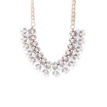 Charming Faux Pearl Decorated Leaf Necklace For Women