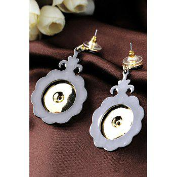 Pair of Vintage Rhinestone Floral Shape Earrings For Women - GOLDEN