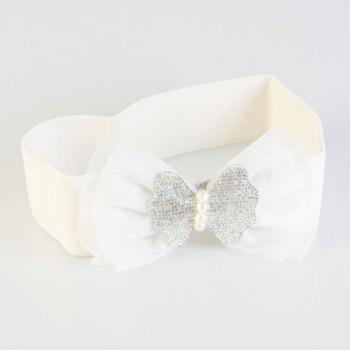 Chic Rhinestone Double-Deck Lace Bow Women's Elastic Waistband