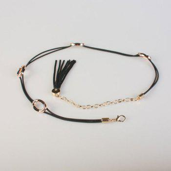 Chic Hollow Circle and Tassel Embellished Women's PU Waist Rope - BLACK