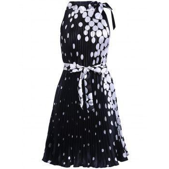 Vintage Round Collar Sleeveless Polka Dot Pleated Women's Dress